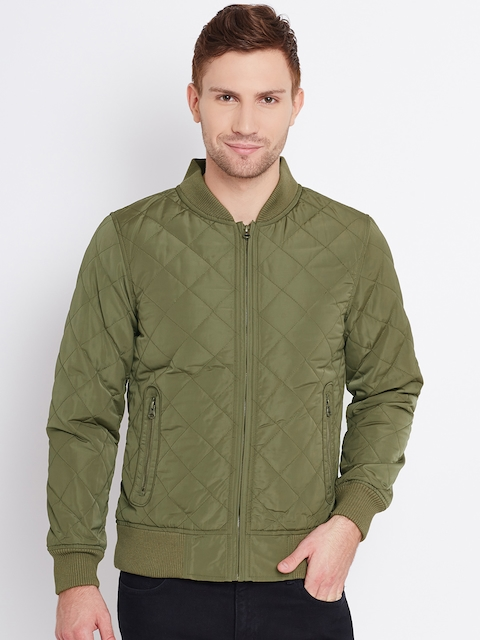 United Colors Of Benetton Olive Green Quilted Bomber Jacket For Men