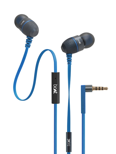 boAt Unisex Blue BassHeads 220 In-Ear Headphones with Mic