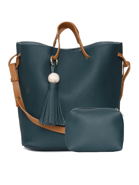 DressBerry Teal Blue Textured Bucket Bag