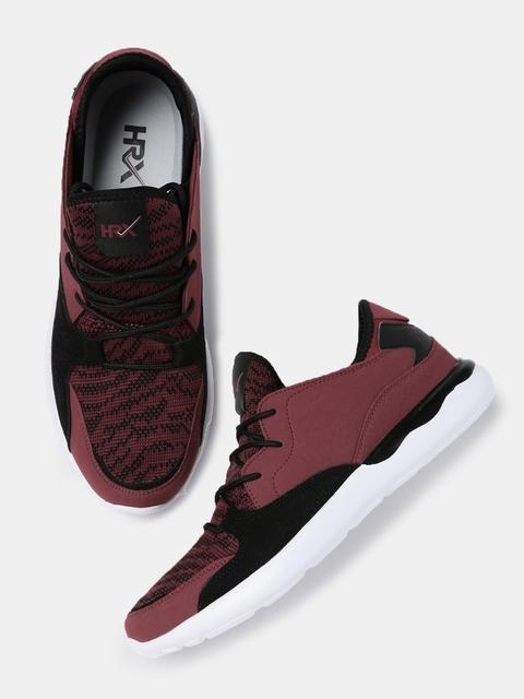 HRX by Hrithik Roshan Men Burgundy & Black Colourblocked Sneakers