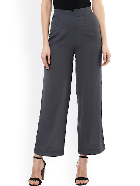 SASSAFRAS Women Grey Solid Smart Fit Flat-Front Trousers