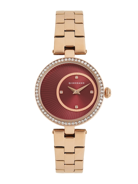 GIORDANO Women Maroon Embellished Analogue Watch A2056-66