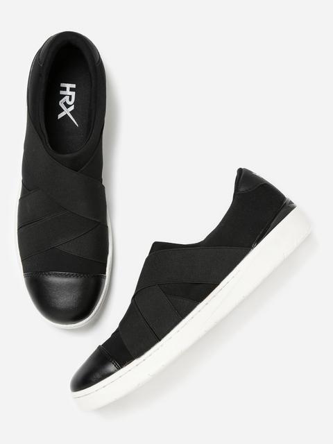 HRX by Hrithik Roshan Men Black Slip-On Sneakers