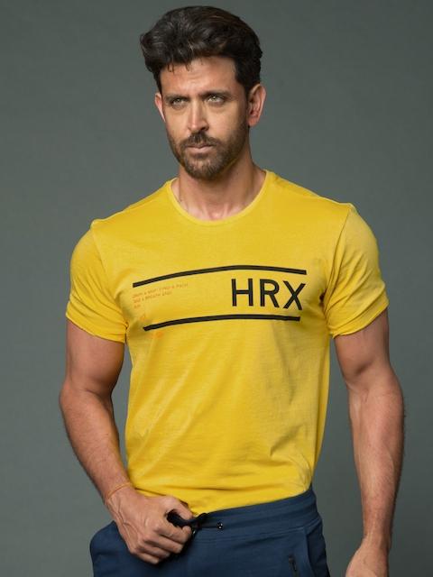 HRX by Hrithik Roshan Men Yellow Printed Round Neck T-Shirt