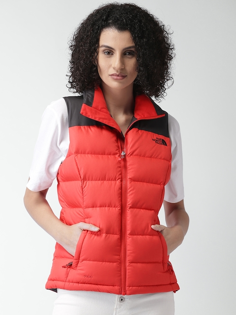 aaa7b765eb The North Face Red Asian Relaxed Fit Sleeveless Padded Jacket Image