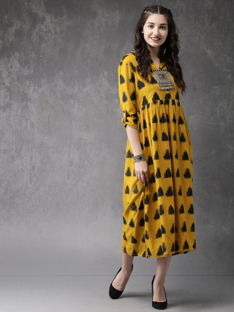 Anouk Women Mustard Yellow & Black Printed A-line Fusion Kurta