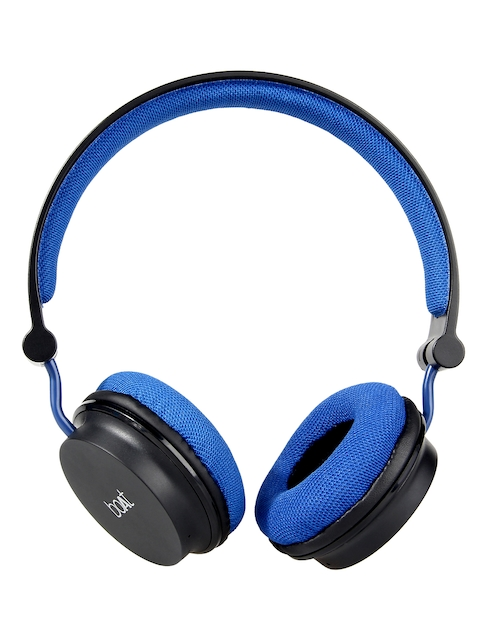 boAt Unisex Black & Blue Rocker 400 Wireless On Ear Bluetooth Headphones with Mic