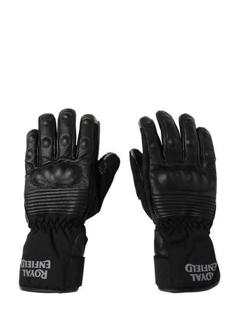 Royal Enfield Unisex Black Long Leather Gloves