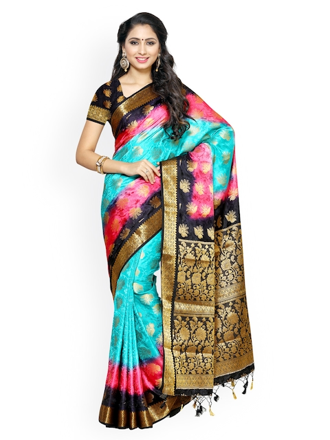 345b0ba119d0d7 MIMOSA Blue   Pink Kanjeevaram Art Silk Traditional Saree Image