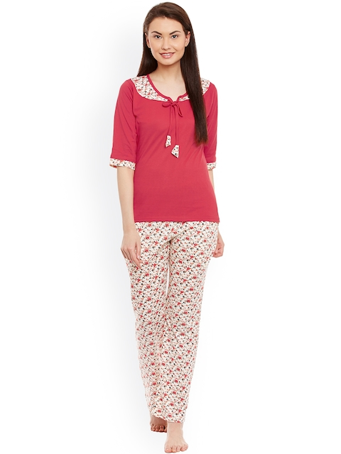 7530b70325 Claura Red   White Floral Print Nightsuit cot-26 Image