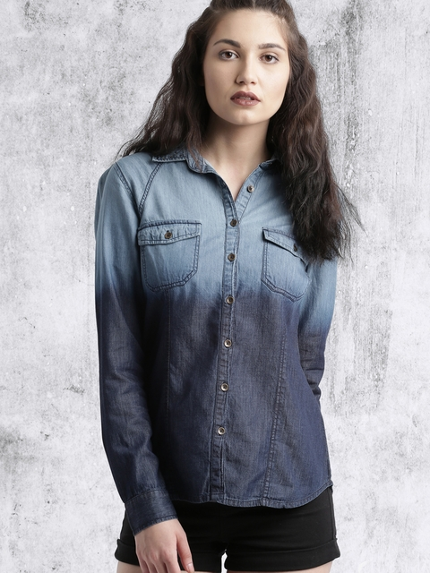 Roadster Women Blue Solid Casual Shirt thumbnail