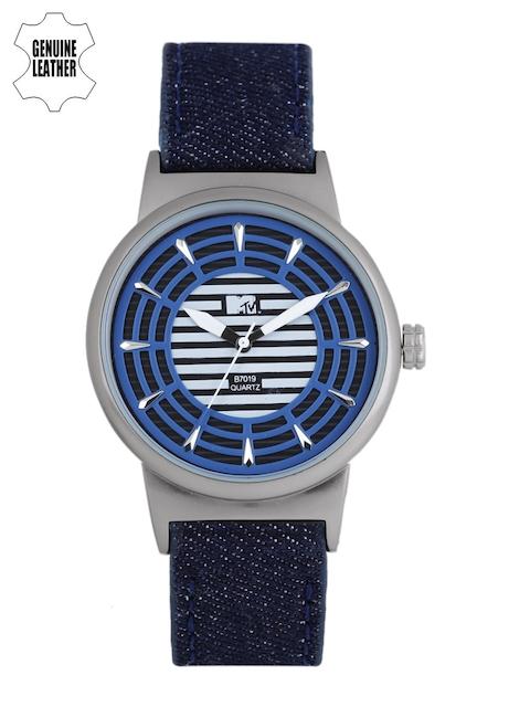 MTV Men Blue & White Striped Analogue Watch B7019BL