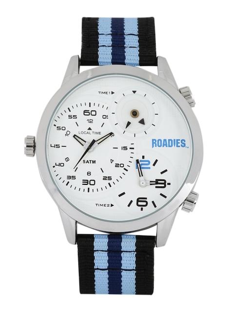 Roadies Men White Textured Multiple Time Zone Analogue Watch R7011WBL