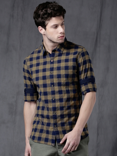 WROGN Men Navy & Khaki Slim Fit Checked Casual Shirt