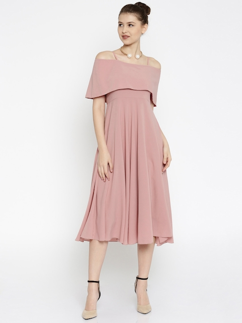 SASSAFRAS Women Pink Fit & Flare Off-Shoulder Midi Dress