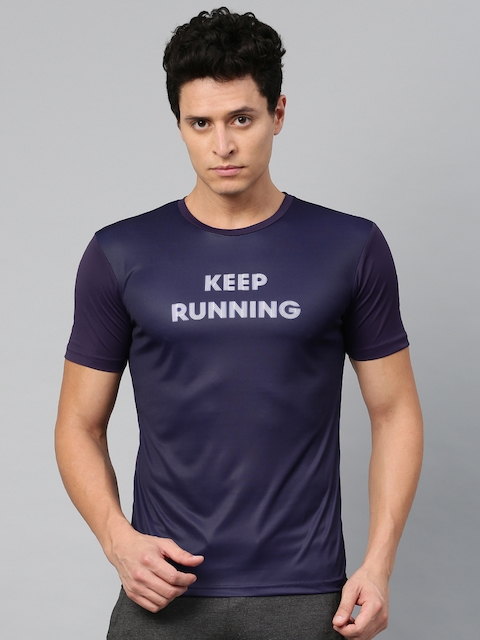 8bfbaf80aa24 HRX Active by Hrithik Roshan Men Purple Printed RAPID-DRY T-Shirt