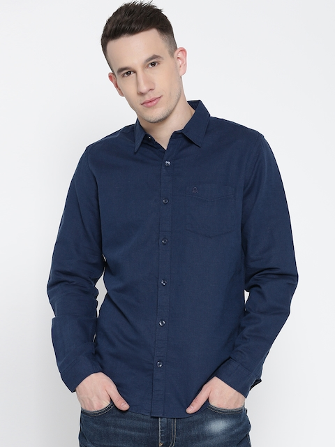 United Colors of Benetton Men Navy Blue Solid Casual Shirt
