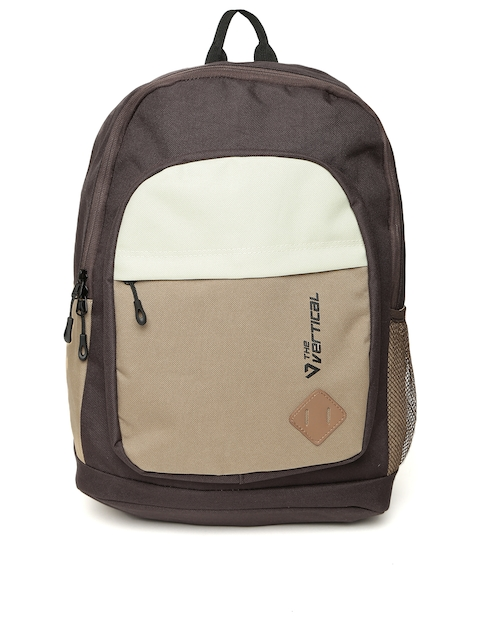 THe VerTicaL Unisex Coffee Brown   Cream-Coloured Colourblocked Laptop  Backpack Image e5f6d5d766151