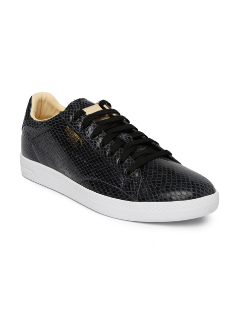 aa261ab41e7b Puma Women Black   Grey Leather Snakeskin Print Sneakers