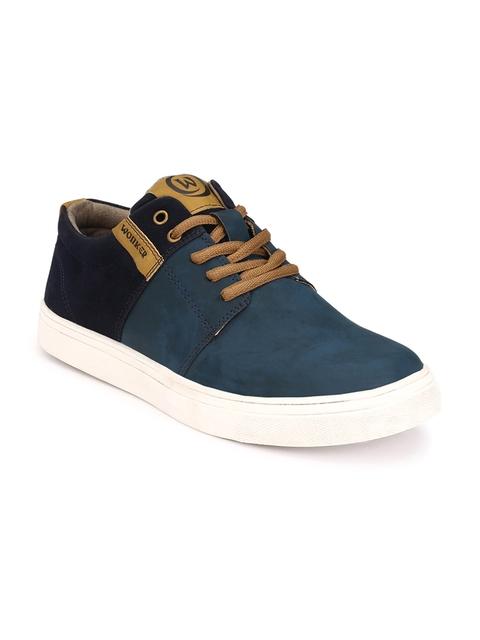 WONKER Men Blue & Black Colourblocked Sneakers