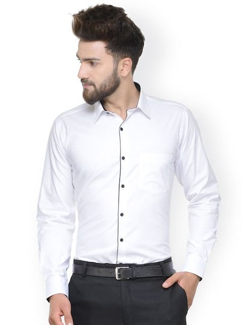 Hancock Men White Slim Fit Solid Formal Shirt
