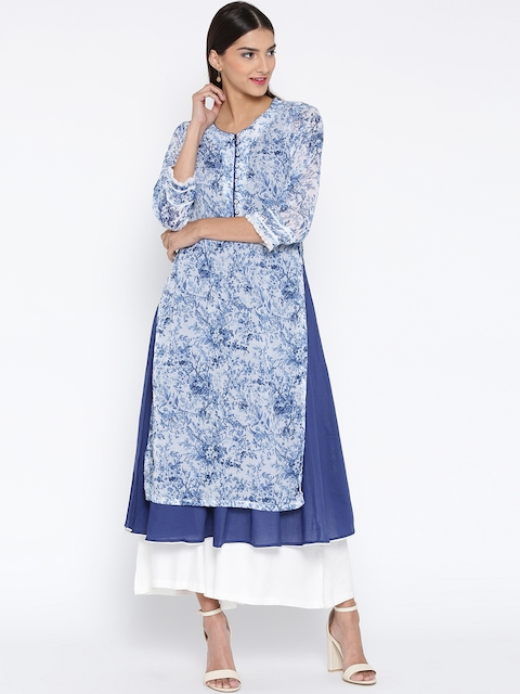 Biba Women Blue & White Printed Layered A-Line Kurta