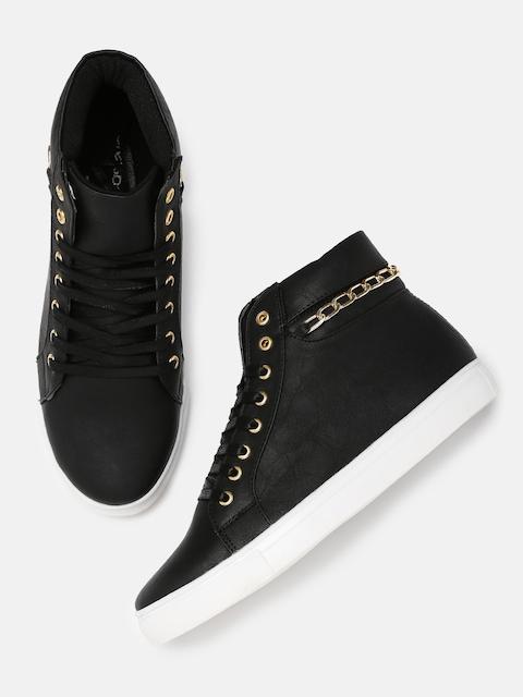 b7ed6995676 Best Kook N Keech Casual Shoes   Sneakers Products (2019). DressBerry Women  Black Solid Mid-Top Sneakers
