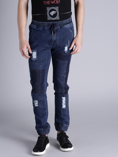 Kook N Keech Men Blue Jogger Slim Fit Mid-Rise Mildly Distressed Jeans