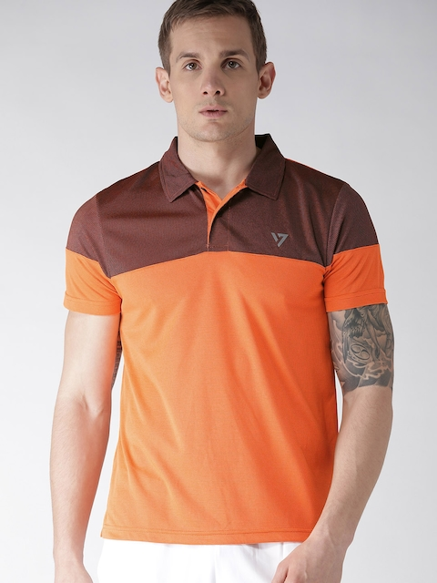 8db627557 SEVEN by MS Dhoni Men Orange AGASSIZ Self-Striped Polo Collar T-shirt