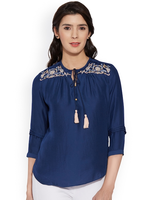 8439947e82f7b Kraus Jeans Women Blue Solid Top with Embroidered Detail