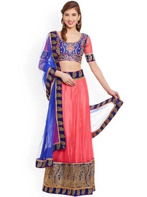 1bc46090fda Chhabra 555 Pink   Blue Embroidered Net Semi-Stitched Lehenga Choli with  Dupatta
