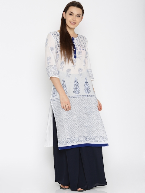 Moda Rapido Women White Printed Straight Kurta