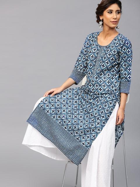 AKS Women Blue Printed Straight Kurta