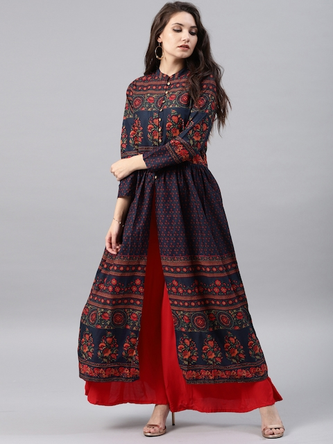 Vishudh Women Navy Blue Printed Anarkali Kurta