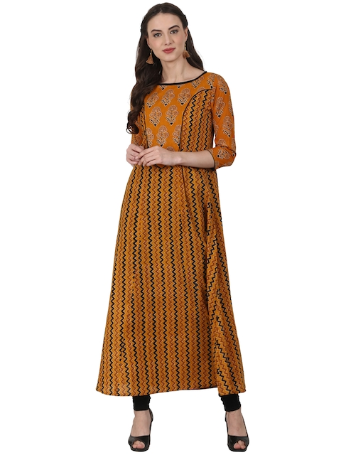 d591ef0abf6e Nayo Women Orange   Black Printed A-Line Kurta Image