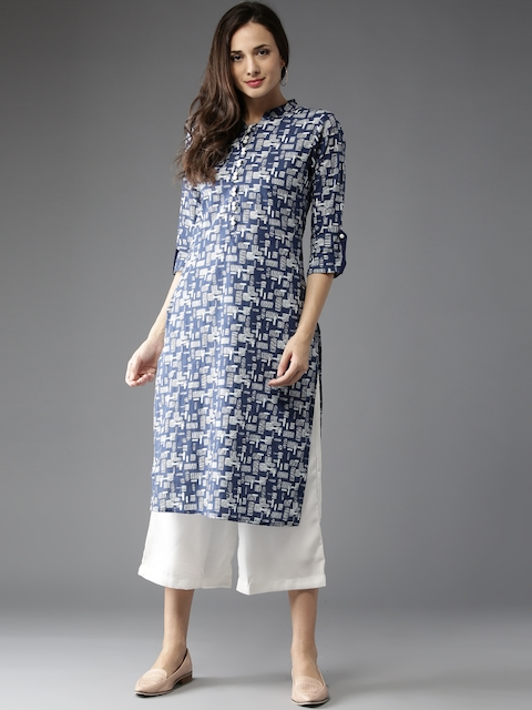 HERE&NOW Women Blue & Off-White Printed Straight Kurta