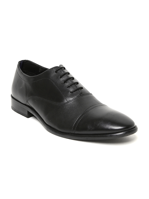 Bata Men Black Genuine Leather Oxfords