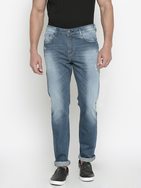 American Crew Men Blue Slim Fit Mid-Rise Stretchable Jeans