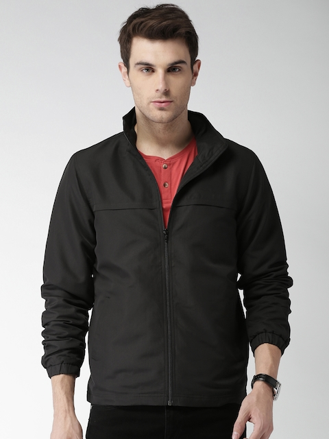 Mast & Harbour Men Black Solid Sporty Jacket
