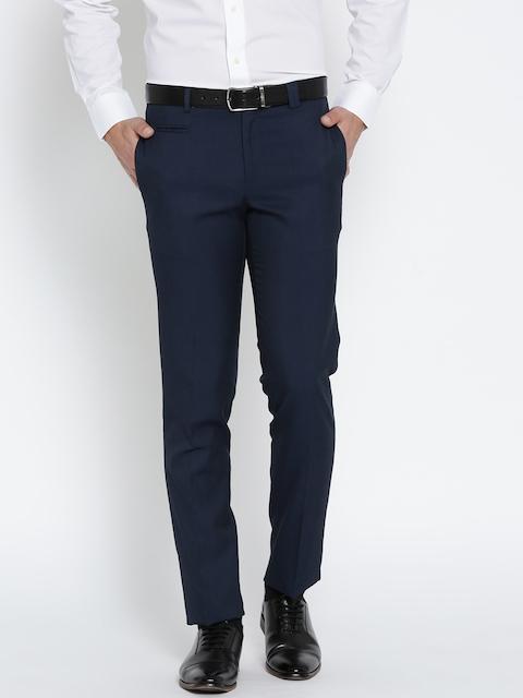 John Players Men Navy Blue Regular Fit Solid Formal Trousers