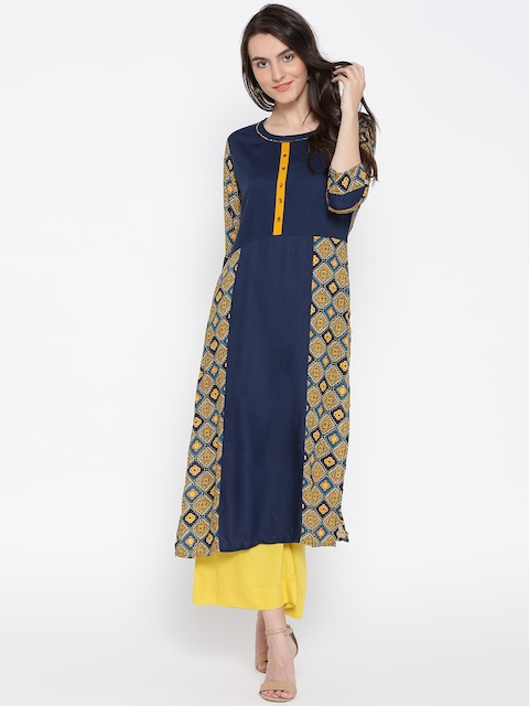 Shree Women Navy & Mustard Yellow Printed Straight Kurta