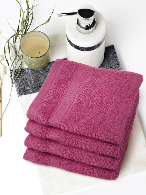 SPACES Set of 4 Pink Cotton 450 GSM Face Towels