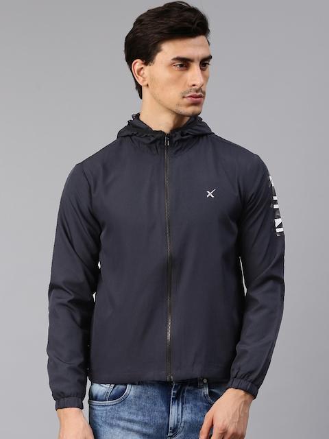 HRX by Hrithik Roshan Men Navy Solid Hooded Sporty Jacket