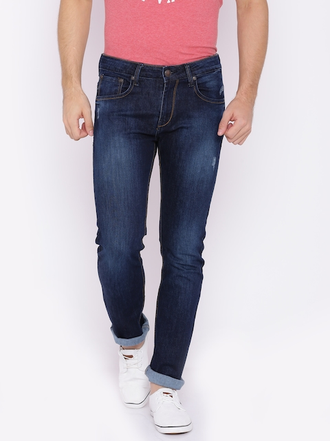 American Crew Men Blue Slim Fit Mid-Rise Low Distress Stretchable Jeans