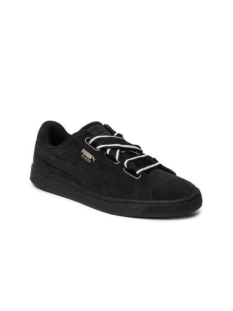 eb921de9124 Puma Women Black Suede Heart Satin II Sneakers