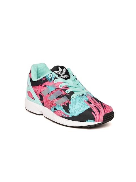 ADIDAS Originals Kids Sea Green & Pink ZX Flux Printed Sneakers