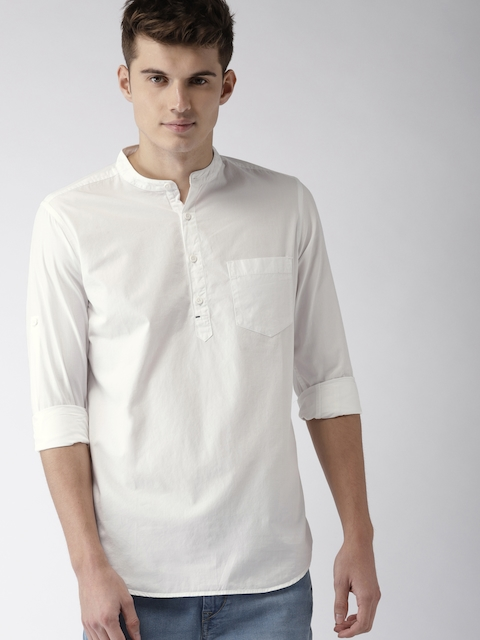 HIGHLANDER Men White Solid Straight Kurta