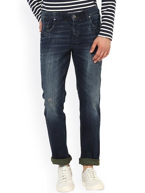 Jn Joy Men Blue Regular Fit Mid-Rise Stretchable Jeans