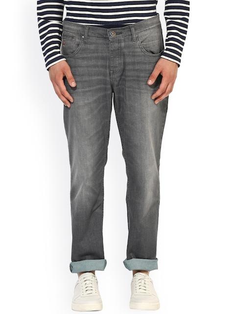 Jn Joy Men Grey Regular Fit Mid-Rise Clean Look Stretchable Jeans