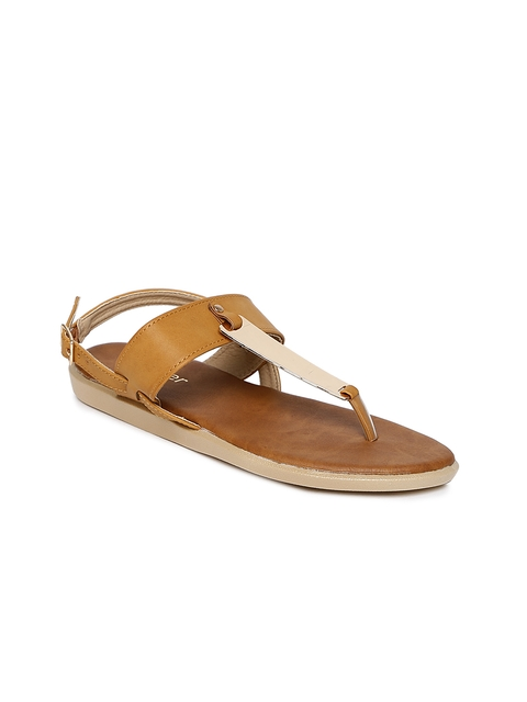 3d1bd94c050a Ginger by Lifestyle Women Brown   Gold-Toned Solid T-Strap Flats